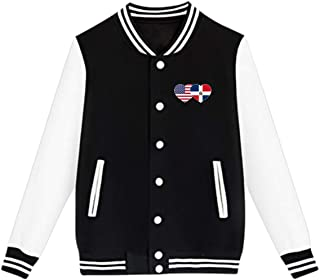 WFIRE Baseball Jacket Dominican American Flag Custom Fleece Varsity Uniform Jackets Coats for Youth