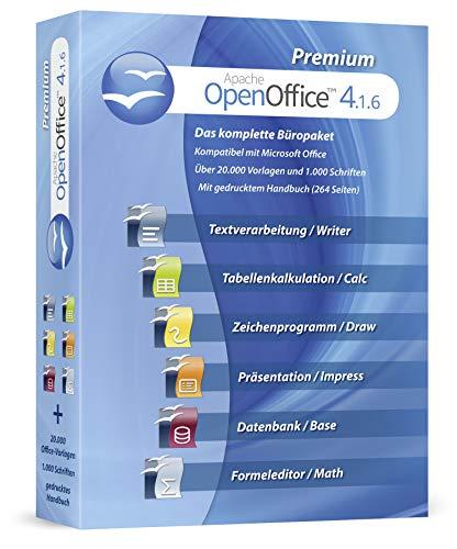 Open Office Premium 2019 Home Student Professional - Inkl. gedrucktes Handbuch / 20.000 Office Vorlagen / 1.000 Schriften / Kompatibel mit Word, Excel, Powerpoint für Windows 10 8 7 Vista