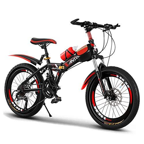 GZMUK Bicicleta De Montaña para Niños Ruedas De 20 Pulgadas (22,24) con Frenos De Disco Frenos De Doble Disco Delanteros Y Traseros De 7 Velocidades,Rojo,24in