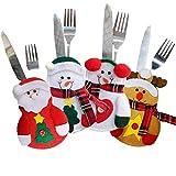 CHBOP 3 x 4 Stück Weihnachten Bestecktasche Besteckbeutel Besteckhalter Weihnachtsdeko tischdeko Rentier Schneemann Weihnachtsmann insgesamt - 7