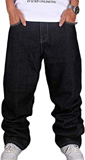 Mxssi Jeans Pantaloni Vintage da Uomo Hip Hop Baggy Denim Street Pantaloni da Danza Straight Fit Teenage Boys