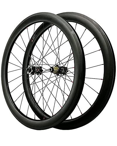 700C (Delantero + Trasero) Ruedas De Ciclismo De Carretera Llanta De Aleación De Fibra De Carbono Ultraligera Rodamientos Sellados De Buje Juego De Ruedas De Bicicleta De 7-12 Velocidades