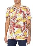 Marca Amazon - 28 Palms - Polo de golf de piqué con estampado tropical, algodón de calidad, corte holgado, Cardinal Red/Gold Palm Leaves, US XXL (EU XXXL - 4XL)
