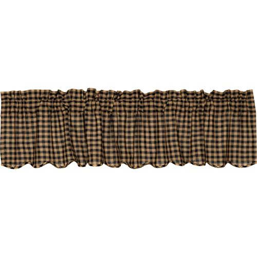 VHC Brands Black Check Scalloped Valance 16x72 Country Curtain