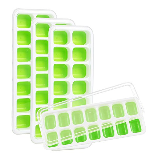 Kootek 4 Pack Silicone Ice Cube Trays with Lid - Flexible 56-Ice Cubes Molds Easy Release Ice Trays with Spill-Resistant Removable Cover, Dishwasher Safe and Stackable Durable (Green)