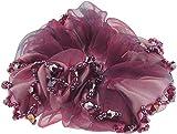 Glamour Girlz Corbata elástica floral con cuentas de gasa para niñas (sin flor rosa oscuro)