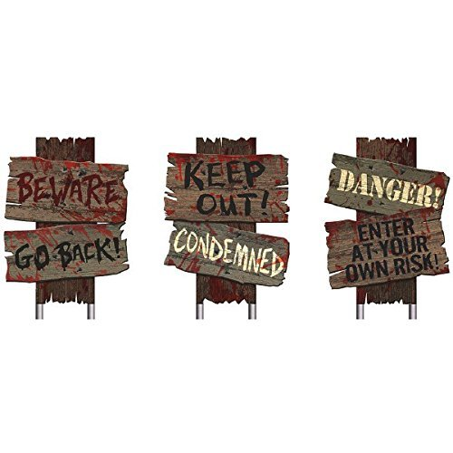 Amscan Creepy Cemetery Halloween Party Assorted Warning Sign Decoration (6 Count)