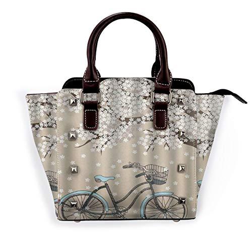 BROWCIN Mehrfarbiger Fahrrad blühender Baum mit kleinen weißen Blumen im Frühling und einem Fahrrad-Skizzen-Kunstwerk Abnehmbare mode trend damen handtasche umhängetasche umhängetasche