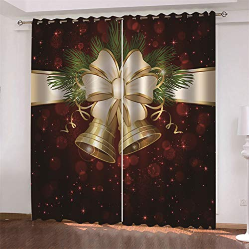 MMHJS Cortinas con Estampado Navideño Nórdico En 3D, Moderno Y Sencillo, Dormitorio, Sala De Estar, Sombreado, Cortina Vertical, Decoración De Pared, Impermeable (2 Piezas)