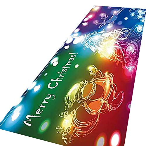 Mingbai Christmas Rugs, Merry Christmas Welcome Front Door Mats Indoor Outdoor Non Slip Doormat, Xmas Holiday Decor Carpet for Living Room Bedroom Bath Kitchen Entrance (40x120-F)
