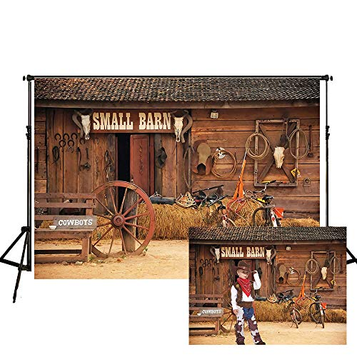 Western Farm Barn Backdrop 7x5ft Wild West Country Cowboy Party Photos Kids Cowboy Birthday Photography Background Studio Props YL021