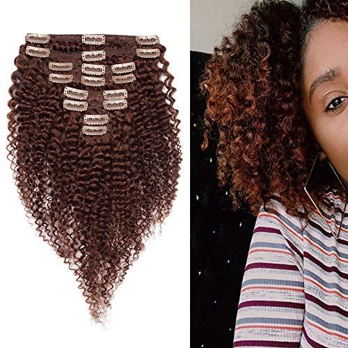 """Extension a Clip Cheveux Naturel Bouclé #33 Auburn Foncé - Tissage Bresilien Bouclé en Lot avec Clips - Rajout Cheveux Humain - 22""""-120g"""