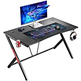 Mr IRONSTONE Deep Gaming Desk 45.3' W x 29' D Home Office Computer Table, Black Gamer Workstation with Cup Holder, Headphone Hook and 2 Cable Management Holes