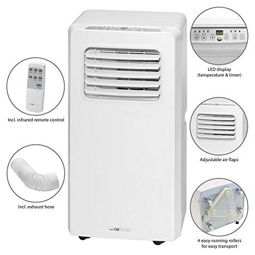 Clatronic CL 3671 Mobiles Klimagerät, EEK A, Kühlleistung 7000 BTU, LED-Display, Fernbedienung