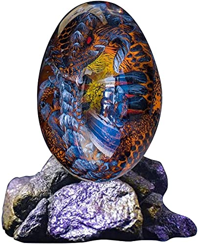 ZHEYANG Juguetes Dinosaurios Huevo de dragón de Resina Transparente de Cristal Artesanal de Resina con Base para Adornos de decoración de porches de Escritorio de jardín Model:G01409(Color:Blau)