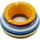 com-four® 2-teiliges Set Windaschenbecher aus feinster Dolomit Keramik, bunt gestreift, ca. 10 x 5 cm (002 Stück – Mix1) - 5