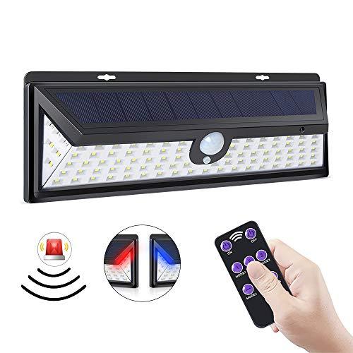 ERAY Luz Solar Exterior 92 LEDs con Sensor de Movimiento, Función de Alarma/Control Remoto/ 1200 Lúmenes/ 3 Modos Ajustables/ IP65 Impermeable, Luz de Seguridad para Jardín, Patio, Terraza, Camino