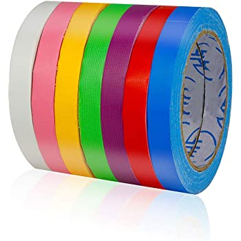TSAUTO 7 Pack Bright UV Blacklight Reactive Neon Color Tape(FBA Delivery) Rainbow Color Craft Paper Tape Colored Masking Fixed Tape 60ft per roll for Art Lab Kids DIY Art(0.5 in x 60 ft Small)