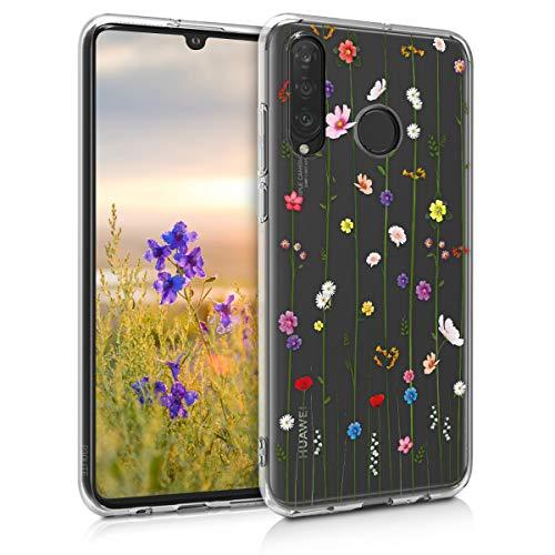 kwmobile Hülle kompatibel mit Huawei P30 Lite - Handyhülle - Handy Hülle Wildblumen Ranke Mehrfarbig Transparent