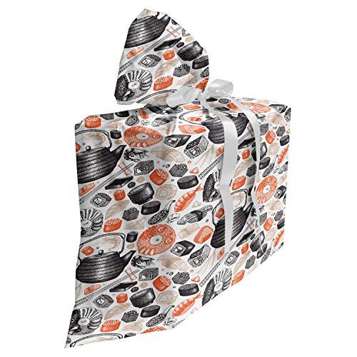 ABAKUHAUS Sushi Sac Cadeau pour Fête Prénatale, Rolls et Wasabi Crevettes Alimentaire, Pochette en Tissu Réutilisable de Fête avec 3 Rubans, 70 x 80 cm, Saumon Noir et Beige