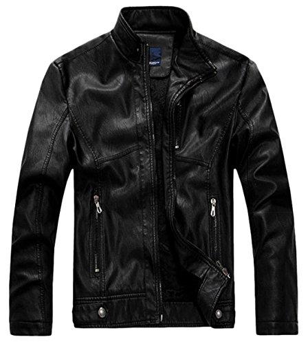 chouyatou Men's Vintage Stand Collar Pu Leather Jacket (X-Large, RZQM888-Black)
