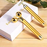 "Face Massager Roller, Beauty Bar Golden, 3D Roller Electric Sonic Energy Beauty Bar and ""T"" Shape Face Massager Kit. Anti-Aging/Wrinkles, Instant Face Lift, Skin Tightening (3D Roller)"