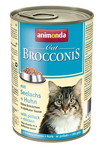 animonda Brocconis Katzenfutter, Nassfutter für Katzen, mit Seelachs + Huhn, 12 x 400 g