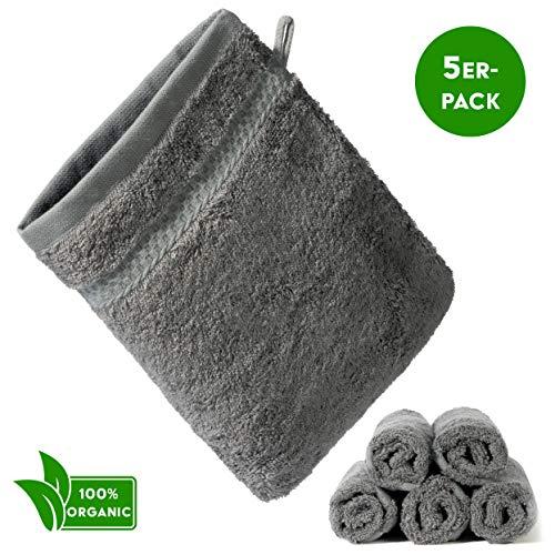 KERNWARE® Waschlappen (5 Stück in Grau) unglaubliches Hautgefühl durch 70% Bambus - Waschhandschuh mit massiver Saugfähigkeit - Kinder/Baby (Anthrazit)