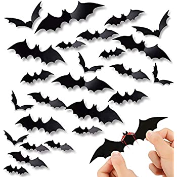 60PCS Halloween 3D Bats Decoration, DIY Scary Wall Bats Wall Decal Wall Stickers 4 Different Sizes Realistic PVC Scary Bat Sticker for Halloween Party Decoration Supplies
