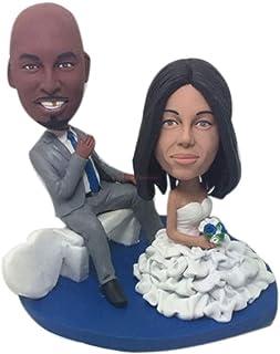 Figurina di argilla personalizzata personalizzata per torta nuziale Topper Bobble Head Basato sulle foto dei clienti Regal...