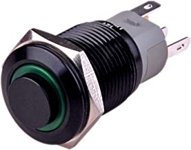 Ulincos Latching Push Button Switch U16F2 1NO1NC SPDT ON/OFF Black Shell with Green LED Ring Suitable for 16mm 5/8