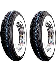 2 wielen compleet gemonteerd voor Piaggio Vespa PX 125 150 200 Pack: 2 banden 2 Kenda K 333 met witte riemen DOT 2016 maat 3.50-10 51J 4PR, 2 luchtslang Kenda met chroom RMS