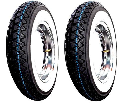 2 komplette Räder montiert für Piaggio Vespa PX 125 150 200 mit: 2 Felgen, 2 Reifen Kenda K 333 mit weißem Band DOT 2016 Größe 3.50-10 51J 4PR 2 Schlauch Kenda mit verchromter Felge RMS