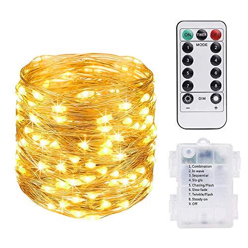 Vicloon LED Lichterkette Kupferdraht, 10M / 100 LED Sternenlicht Wasserdichtes mit Fernbedienung, Garten, Wohnung, Tanz, Weihnachtsfeier, Sternenhimmellicht im Freien