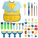 Surplex 42 Pièces enfants Peinture éponge Lot de pinceaux, Brosses de Peinture Enfant pour Enfants Maternelle Artisanat Art DIY Peinture d'Apprentissage Précoce d'Enfant, Tablier et Pinceaux