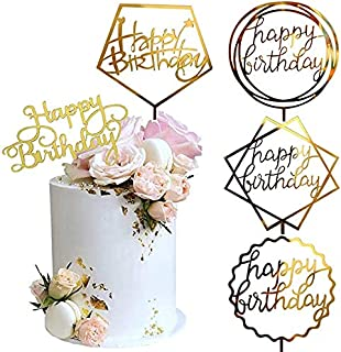 ZZX Gold Cake Topper, Acrylic Cake Topper Happy Birthday Cake Topper Cake Decoration Supplies (5 Pieces)