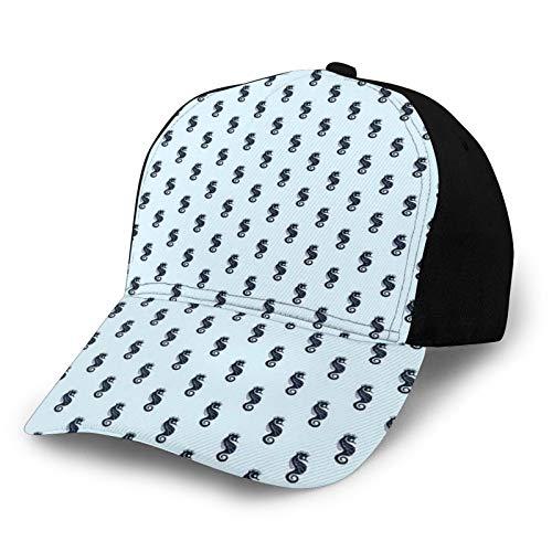 FULIYA Gorra de béisbol estructurada, diseño gráfico contemporáneo de figuras de caballito de mar en orden continuo, sombrero de papá para hombres y mujeres, perfil bajo ajustable