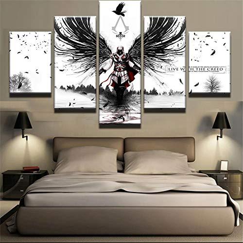 Bhwlltv 3D Wandaufkleber Kunst Malerei Rahmen Wandbild Ölgemälde Tapete Leinwand Gemälde 5 Stücke Anime Home Decoration Poster Assassin's Creed Kein Rahmen 30x80CM