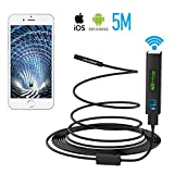 Pancellent Wireless Snake Camera 1200P WiFi Inspection Camera HD Endoscope with 8 LED Light Rigid Cable Borescope for iPhone Android Smartphone Table Ipad PC (5 Metes,16.5 FT)