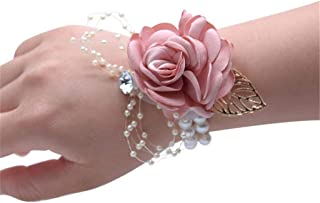 Flonding Girl Bridesmaid Wrist Corsage Bridal Silk Wrist Flower with Faux Pearl Bead Stretch Bracelet Wristband Gold Leaf for Wedding Prom Hand Flowers Decor (Champagne Pink, Pack of 2)