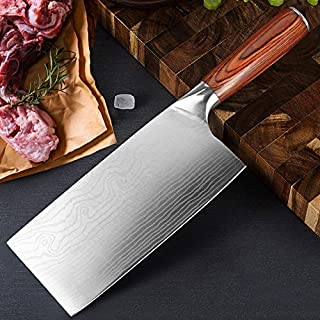 Damascus Chef Knife Set. Professional Japanese High Carbon Steel. 7Cr17mov Blade. Ergonomic comfort Woden Handle. (8 inch ...