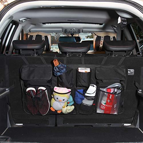 Foldable Car Trunk Organizer, 35'x18' Multi-Pockets Durable Car Back Seat Cargo Organizer, Space Saving SUV Trunk Organizer, Hanging Car Storage Bag with Fastened Strip for SUV, Hatchback, Truck, Van