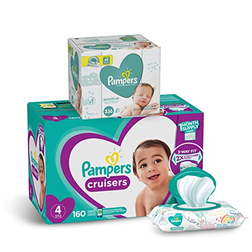 Diapers Size 4, 160 Count and Baby Wipes - Pampers Cruisers Disposable Baby Diapers and Water Baby Wipes Sensitive Pop-Top Packs, 336 Count
