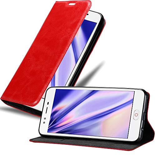 Cadorabo Hülle für ZTE Nubia M2 LITE in Apfel ROT - Handyhülle mit Magnetverschluss, Standfunktion & Kartenfach - Hülle Cover Schutzhülle Etui Tasche Book Klapp Style