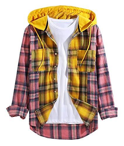 LifeHe Men's Hooded Plaid Shirts Colour Block Long Sleeve Button Down Corduroy Patchwork Shirt Jackets Pink