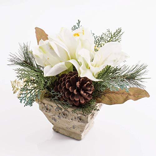 artplants.de Künstliches Amaryllis Arrangement im Keramiktopf, weiß, 25cm - Weihnachts Deko - Kunst Ritterstern