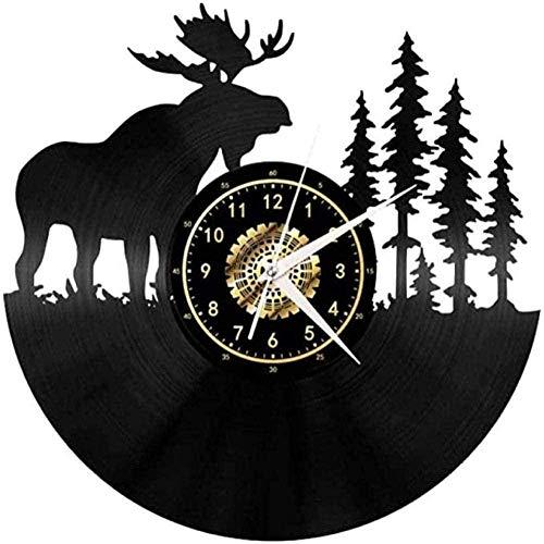 WTTA Kreative 3D-Schallplatte Wanduhr Retro Vinyl Wanduhr Forest Deer Clock Hanging Gift Leadership