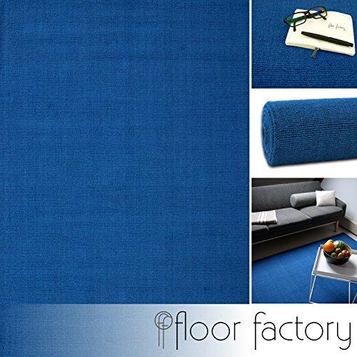 floor factory Moderner Designer Wollteppich Loft Ocean blau 160x230cm - Reine Wolle in Leuchtenden...