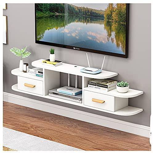 WFENG Mueble TV Suspendido,con Puerta Abatible,con un Cajón para Libros/DVDs,Muy Resistente con Estantes de Gran Almacenaje/B / 140×24×28cm