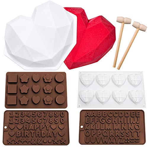 Whaline Valentine's Day Silicone Chocolate Pan 3D Diamond Heart Cake Pan with 2Pcs Hammers Letter Number Candy Pan Silicone Baking Pan for Mousse Chocolate Cupcake Topper Jelly